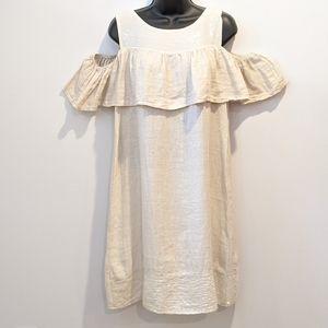 Via Signorina linen cold shoulder dress small